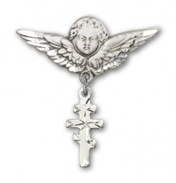 Pin Badge with Greek Orthadox Cross Charm and Angel with Larger Wings Badge Pin [BLBP0240]