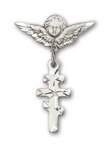 Pin Badge with Greek Orthadox Cross Charm and Angel with Smaller Wings Badge Pin [BLBP0241]