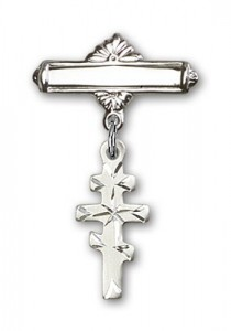 Pin Badge with Greek Orthadox Cross Charm and Polished Engravable Badge Pin [BLBP0237]