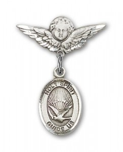 Pin Badge with Holy Spirit Charm and Angel with Smaller Wings Badge Pin [BLBP0571]