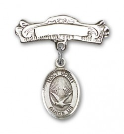 Pin Badge with Holy Spirit Charm and Arched Polished Engravable Badge Pin [BLBP0569]