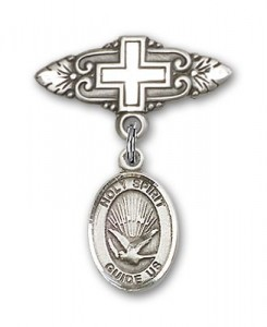 Pin Badge with Holy Spirit Charm and Badge Pin with Cross [BLBP0568]