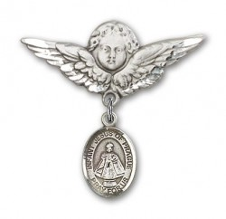 Pin Badge with Infant of Prague Charm and Angel with Larger Wings Badge Pin [BLBP1333]