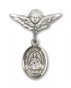 Pin Badge with Infant of Prague Charm and Angel with Smaller Wings Badge Pin [BLBP1334]