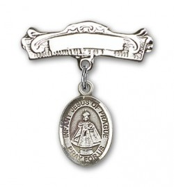 Pin Badge with Infant of Prague Charm and Arched Polished Engravable Badge Pin [BLBP1332]