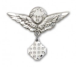 Pin Badge with Jerusalem Cross Charm and Angel with Larger Wings Badge Pin [BLBP0149]