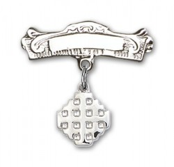 Pin Badge with Jerusalem Cross Charm and Arched Polished Engravable Badge Pin [BLBP0148]