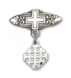 Pin Badge with Jerusalem Cross Charm and Badge Pin with Cross [BLBP0147]