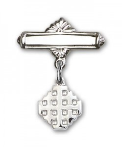 Pin Badge with Jerusalem Cross Charm and Polished Engravable Badge Pin [BLBP0146]