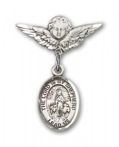 Pin Badge with Lord Is My Shepherd Charm and Angel with Smaller Wings Badge Pin [BLBP1096]