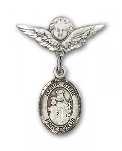 Pin Badge with Maria Stein Charm and Angel with Smaller Wings Badge Pin [BLBP1180]