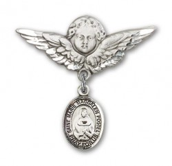 Pin Badge with Marie Magdalen Postel Charm and Angel with Larger Wings Badge Pin [BLBP1926]