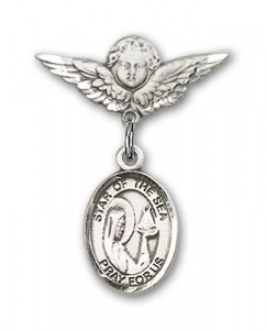 Pin Badge with Our Lady Star of the Sea Charm and Angel with Smaller Wings Badge Pin [BLBP0970]