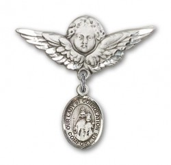 Pin Badge with Our Lady of Consolation Charm and Angel with Larger Wings Badge Pin [BLBP1912]