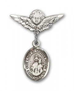 Pin Badge with Our Lady of Consolation Charm and Angel with Smaller Wings Badge Pin [BLBP1913]