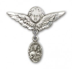Pin Badge with Our Lady of Czestochowa Charm and Angel with Larger Wings Badge Pin [BLBP0254]