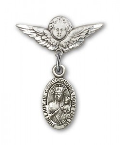 Pin Badge with Our Lady of Czestochowa Charm and Angel with Smaller Wings Badge Pin [BLBP0255]
