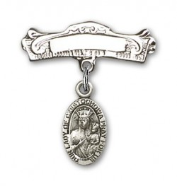 Pin Badge with Our Lady of Czestochowa Charm and Arched Polished Engravable Badge Pin [BLBP0253]