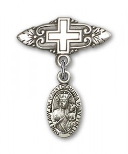 Pin Badge with Our Lady of Czestochowa Charm and Badge Pin with Cross [BLBP0252]