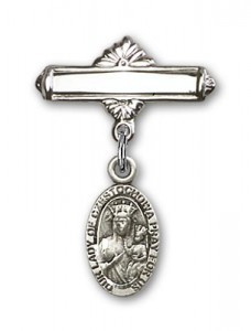 Pin Badge with Our Lady of Czestochowa Charm and Polished Engravable Badge Pin [BLBP0251]