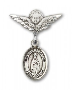 Pin Badge with Our Lady of Fatima Charm and Angel with Smaller Wings Badge Pin [BLBP1320]
