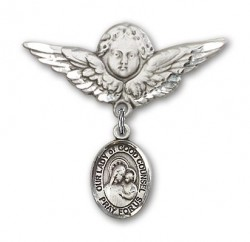 Pin Badge with Our Lady of Good Counsel Charm and Angel with Larger Wings Badge Pin [BLBP1878]