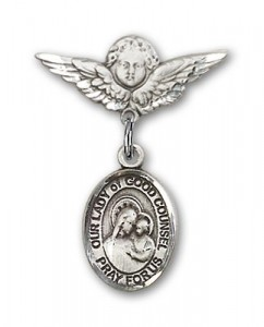 Pin Badge with Our Lady of Good Counsel Charm and Angel with Smaller Wings Badge Pin [BLBP1879]