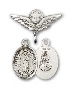 Pin Badge with Our Lady of Guadalupe Charm and Angel with Smaller Wings Badge Pin [BLBP1327]