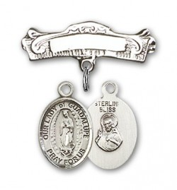 Pin Badge with Our Lady of Guadalupe Charm and Arched Polished Engravable Badge Pin [BLBP1325]