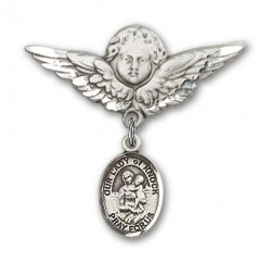 Pin Badge with Our Lady of Knock Charm and Angel with Larger Wings Badge Pin [BLBP1599]