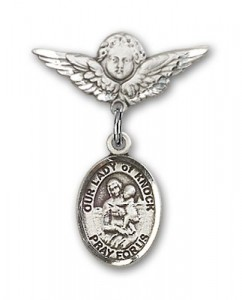 Pin Badge with Our Lady of Knock Charm and Angel with Smaller Wings Badge Pin [BLBP1600]