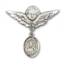Pin Badge with Our Lady of Loretto Charm and Angel with Larger Wings Badge Pin [BLBP0836]