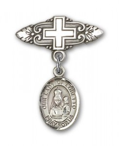 Pin Badge with Our Lady of Loretto Charm and Badge Pin with Cross [BLBP0834]