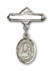 Pin Badge with Our Lady of Loretto Charm and Polished Engravable Badge Pin [BLBP0833]