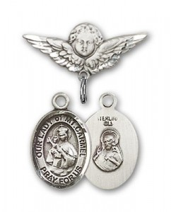 Pin Badge with Our Lady of Mount Carmel Charm and Angel with Smaller Wings Badge Pin [BLBP1579]