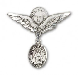 Pin Badge with Our Lady of Olives Charm and Angel with Larger Wings Badge Pin [BLBP1989]