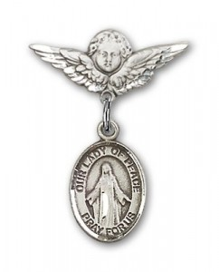 Pin Badge with Our Lady of Peace Charm and Angel with Smaller Wings Badge Pin [BLBP1593]