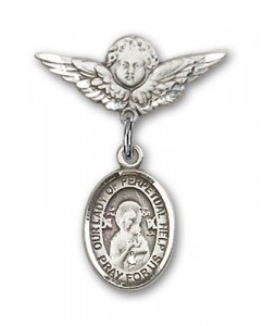 Pin Badge with Our Lady of Perpetual Help Charm and Angel with Smaller Wings Badge Pin [BLBP1439]