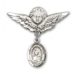 Pin Badge with Our Lady of la Vang Charm and Angel with Larger Wings Badge Pin [BLBP1067]