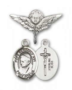 Pin Badge with Pope Benedict XVI Charm and Angel with Smaller Wings Badge Pin [BLBP1523]