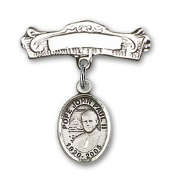 Pin Badge with Pope John Paul II Charm and Arched Polished Engravable Badge Pin [BLBP1514]