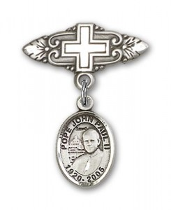 Pin Badge with Pope John Paul II Charm and Badge Pin with Cross [BLBP1513]