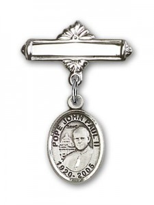 Pin Badge with Pope John Paul II Charm and Polished Engravable Badge Pin [BLBP1512]