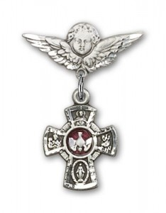 Pin Badge with Red 5-Way Charm and Angel with Smaller Wings Badge Pin [BLBP0136]