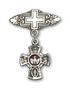 Pin Badge with Red 5-Way Charm and Badge Pin with Cross [BLBP0134]