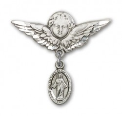 Pin Badge with Scapular Charm and Angel with Larger Wings Badge Pin [BLBP0164]