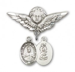 Pin Badge with Scapular Charm and Angel with Larger Wings Badge Pin [BLBP0948]