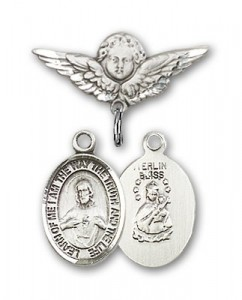 Pin Badge with Scapular Charm and Angel with Smaller Wings Badge Pin [BLBP0949]