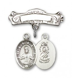 Pin Badge with Scapular Charm and Arched Polished Engravable Badge Pin [BLBP0947]