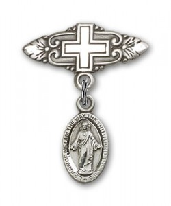 Pin Badge with Scapular Charm and Badge Pin with Cross [BLBP0158]